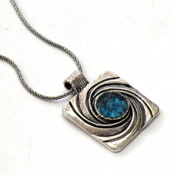 Roman Glass Jewelry Sterling Silver Designer Necklaceה