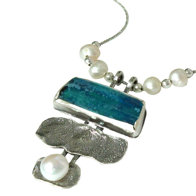 chain NOT included Hammered Sterling Silver Pendant with Roman Glass