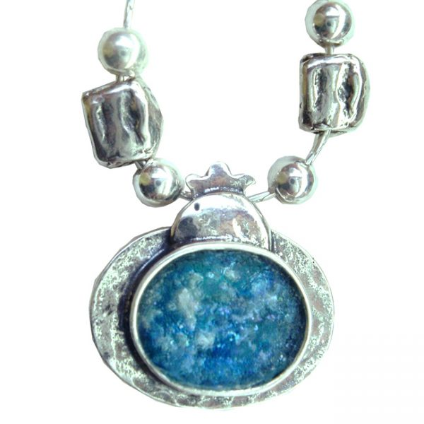 Handmade Roman Glass Jewelry Sterling silver Pomegranate Necklace