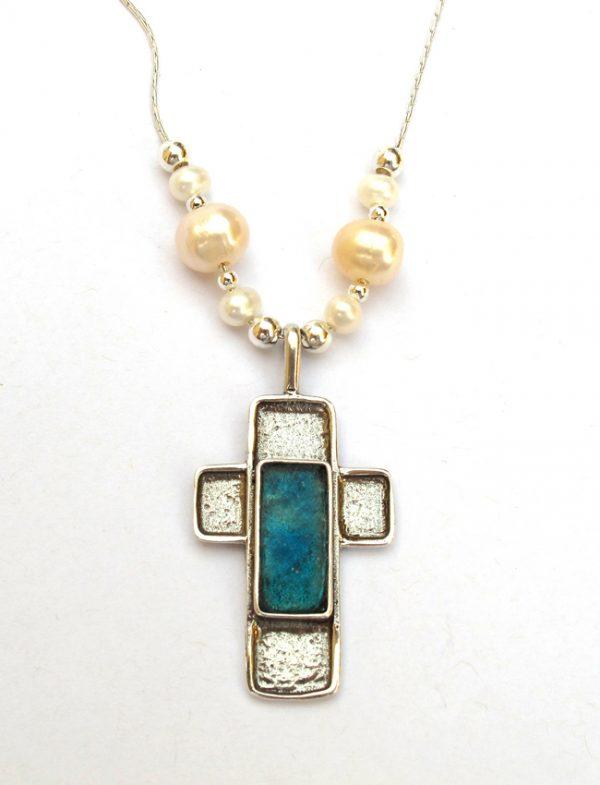 Handmade Roman Glass Jewelry 925 Sterling silver Cross Necklace