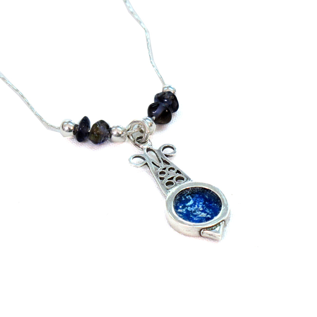 Roman glass silver pendant ancient roman glass pendant,israeli designer,pamogranet design,delicate pendant roman glass handmade  jewelry