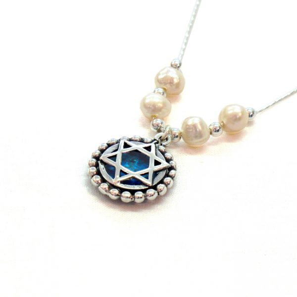 vHandmade Roman Glass Jewelry Sterling silver Star of David Necklace
