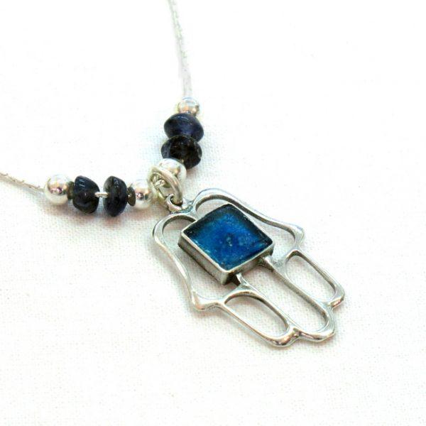 Roman Glass Jewelry Sterling silver Hamsa Necklace Handmade
