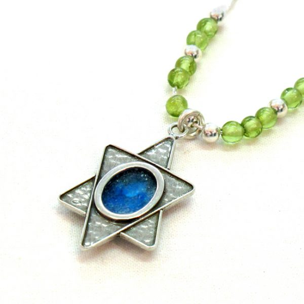 Roman Glass Jewelry Sterling Silver Designer Star of David Necklace