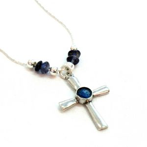 Handmade Roman Glass Jewelry 925 Sterling silver Cross Necklace