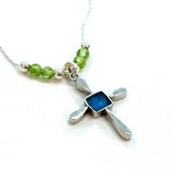 Roman Glass Jewelry Sterling Silver Designer Cross Necklace