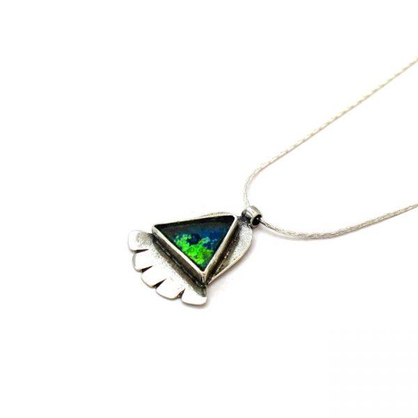 Roman Glass Jewelry Sterling Silver Designer Hamsa Pendant