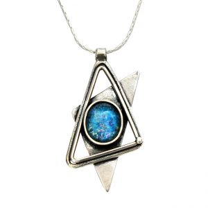 Roman Glass Jewelry Sterling Silver Designer Star of David Pendant