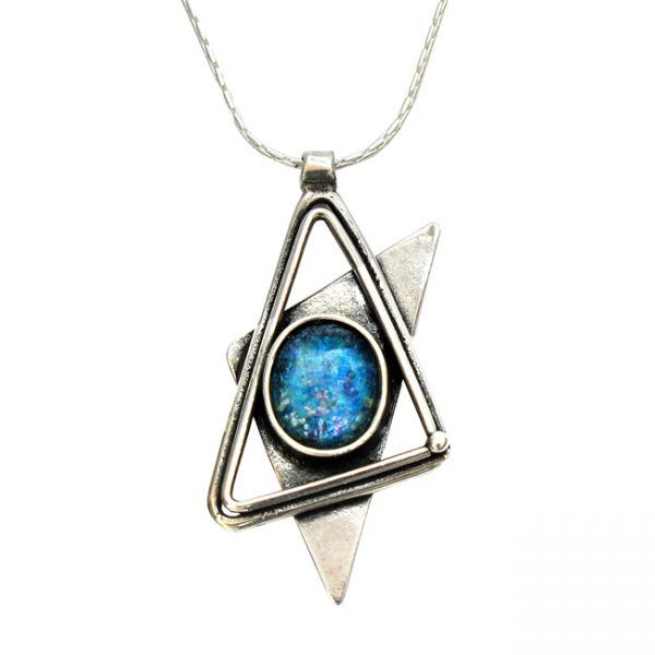 Roman Glass Jewelry Sterling Silver Designer Star of David Pendant
