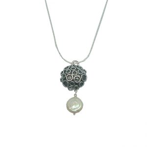 Sterling Silver Jewelry Designer Pendant with Freshwater Pearls
