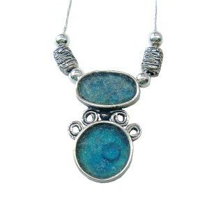Roman Glass Jewelry Sterling Silver Designer Pendant