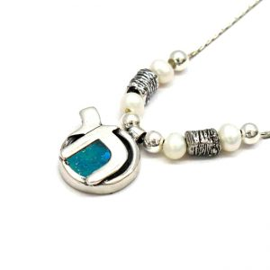 Roman Glass Jewelry Sterling Silver Chai Designer Necklace