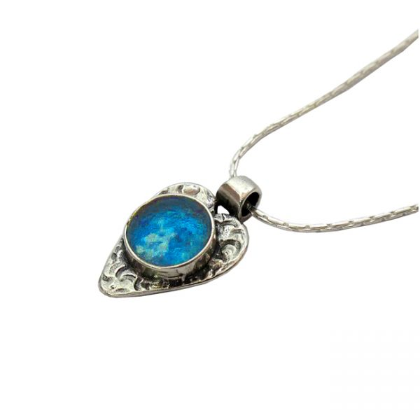Handmade Roman Glass Jewelry Sterling silver Heart Pendant