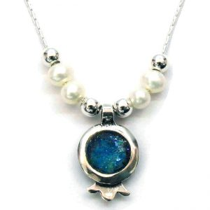 Roman Glass Jewelry Sterling Silver Rimmon Designer Pendant