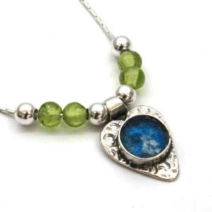 Handmade Roman Glass Jewelry Sterling silver Heart Pendant