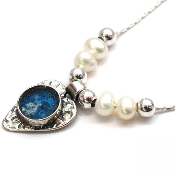 Roman Glass Jewelry Sterling Silver Designer Heart Pendant