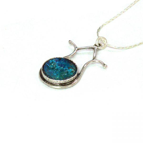 Handmade Roman Glass Jewelry Sterling silver Pomegranate Pendant