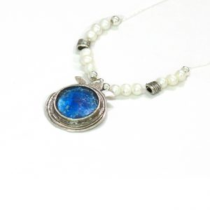 Handmade Roman Glass Jewelry Sterling silver Pomegranate Pendant