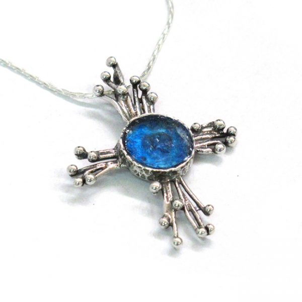Handmade Roman Glass Jewelry 925 Sterling silver Cross Pendant