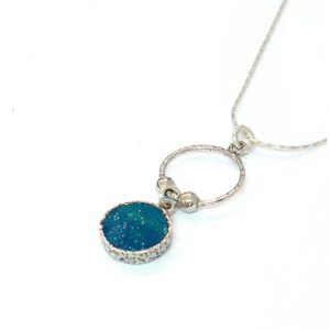 Handmade Roman Glass Jewelry 925 Sterling silver Pendant