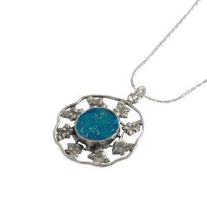 Roman Glass Jewelry Sterling Silver Designer PendantHandmade Roman Glass Jewelry 925 Sterling silver Pendant