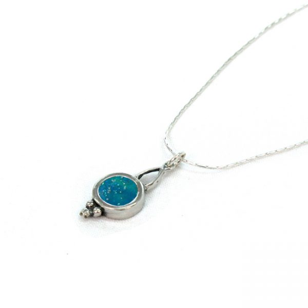 Handmade Roman Glass Jewelry 925 Sterling silver Pendant
