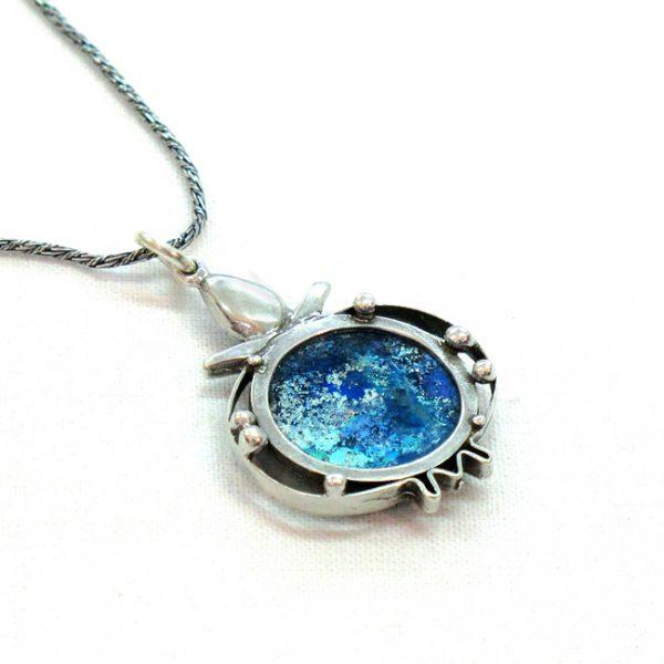 Handmade Roman Glass Jewelry Sterling silver Chai Pendant