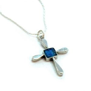 Roman Glass Jewelry Sterling Silver Designer Cross Pendant