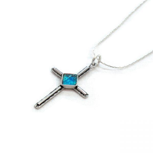 Roman Glass Jewelry Sterling Silver Designer Cross Pendant