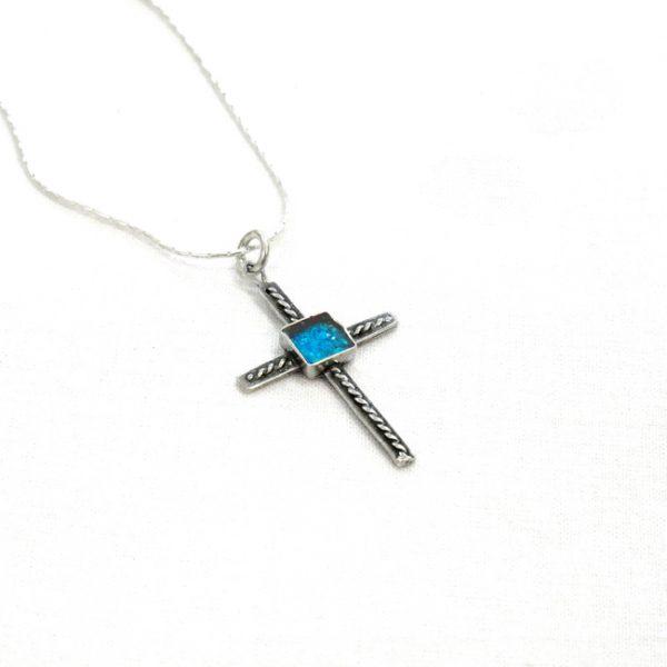 Handmade Roman Glass Jewelry 925 Sterling silver Cross Pendant