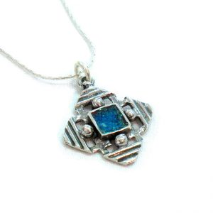 Roman Glass Jewelry Sterling Silver Designer Jerusalem Cross Pendant