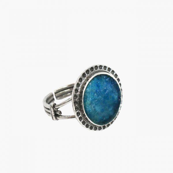 Roman Glass Jewelry Sterling Silver Designer Ring