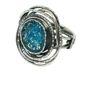 Handmade Roman Glass Jewelry 925 Sterling silver Rings