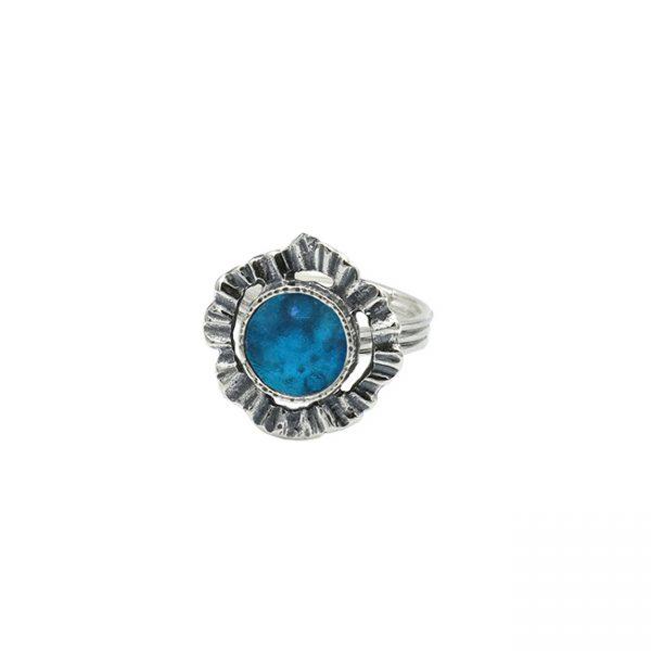 Handmade Roman Glass Jewelry 925 Sterling silver Rings