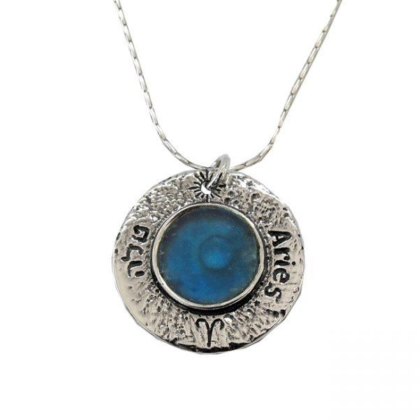 Roman Glass Jewelry Sterling Silver Designer Zodiac PendantRoman Glass Jewelry Sterling Silver Designer Zodiac Pendant