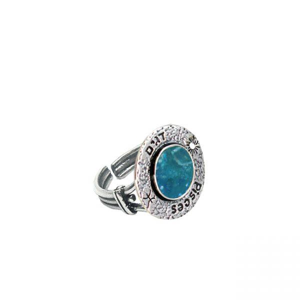 Roman Glass Jewelry Sterling Silver Designer Zodiac Ring