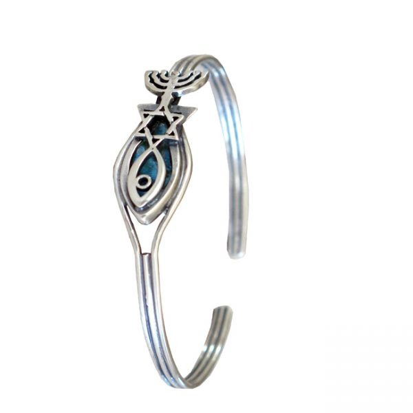 Roman Glass Jewelry Sterling Silver Grafted In Designer Bracelet
