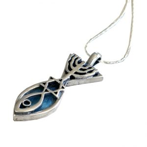 Handmade Roman Glass Jewelry Sterling silver Messianic Necklace