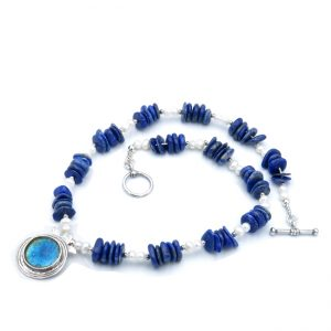 Roman Glass Jewelry Sterling Silver Rimmon Designer Necklace