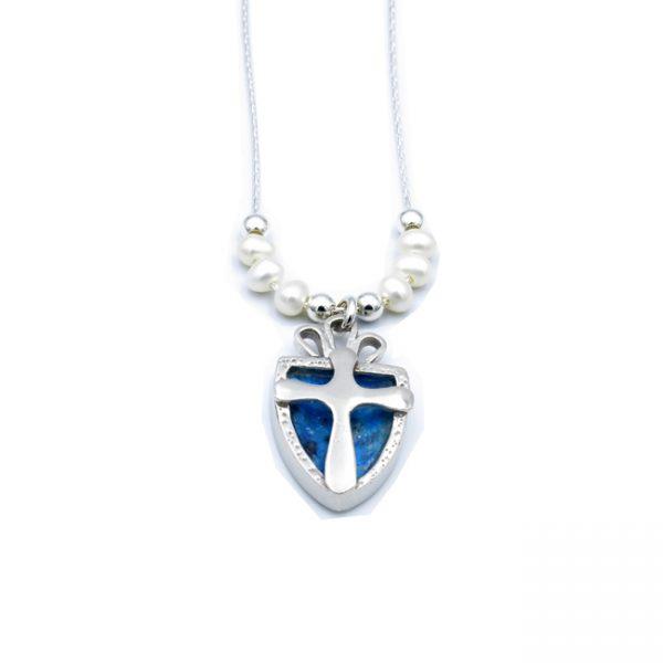 Roman Glass Jewelry 925 Sterling silver Cross Necklace Handmade