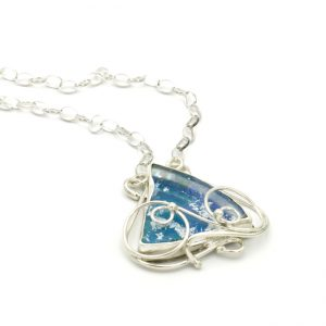 Roman Glass Jewelry Sterling Silver Handmade One of a Kind Designer Pendant