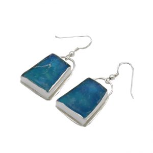 Handmade Roman Glass Jewelry 925 Sterling silver Earrings