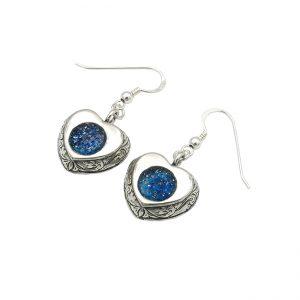 Handmade Roman Glass Jewelry Sterling silver Heart Earrings