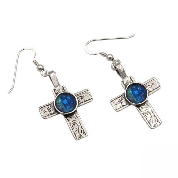 Handmade Roman Glass Jewelry 925 Sterling silver Cross Earrings