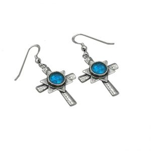 Handmade Roman Glass Jewelry 925 Sterling silver Star of David Cross Earrings
