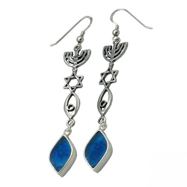 Roman Glass Jewelry Sterling silver Messianic Earrings Handmade