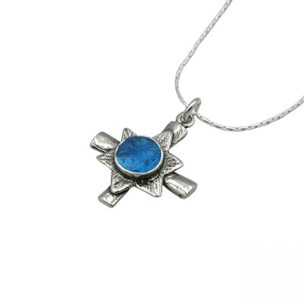 Handmade Roman Glass Jewelry 925 Sterling silver Star of David Cross Pendant
