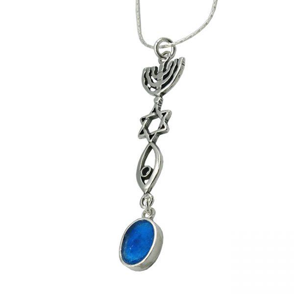 Roman Glass Jewelry Sterling silver Evangelical Pendant Handmade
