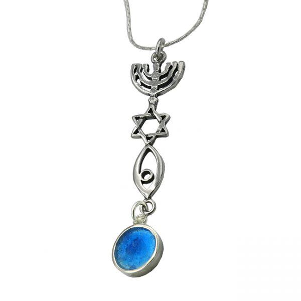 Roman Glass Jewelry Sterling silver Messianic Pendant Handmade