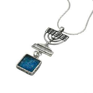 Handmade Roman Glass Jewelry Sterling silver Menorah Earrings
